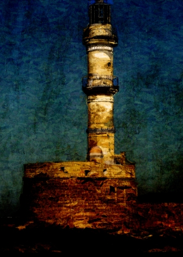 Original art © First Night Design. Digital painting of the lighthouse in Chania, Crete, using GMX-Photo Painter.