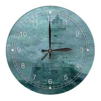 Lighthouse Impasto Clock © First Night Design
