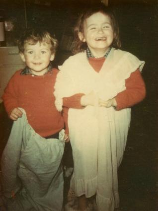 Tom & Sarah in their parents' pyjamas © Sarah Vernon