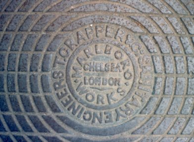 """Manhole cover, inscribed """"T Crapper & Co Sanitary Engineers Marlboro Works Chelsea London"""""""