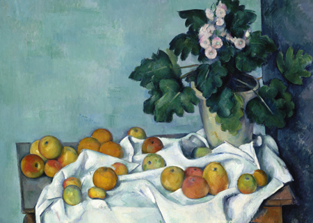 Still Life with Apples and a Pot of Primroses - Paul CŽezanne