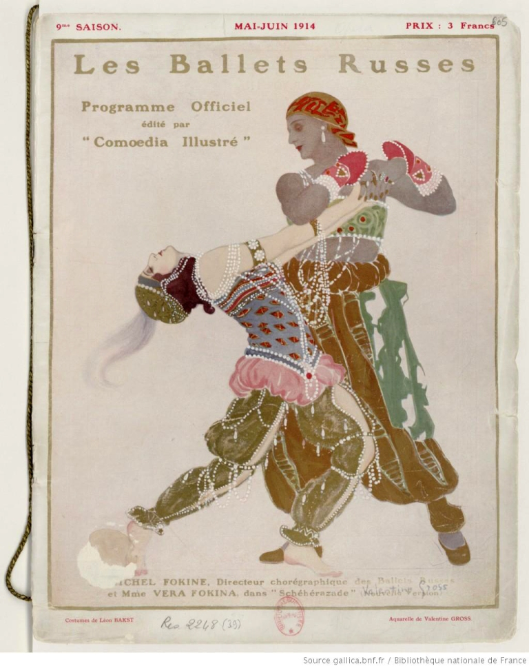 Programme of Ballets Russes - 1913 ShŽhŽrazade - Michel Fokine and Vera Fokina