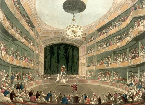 Astley's Ampitheatre in London as drawn by Thomas Rowlandson and Augustus Pugin for Ackermann's Microcosm of London (1808-11).