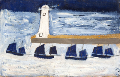 Alfred Wallis, Four luggars leaving a harbour, MIMA