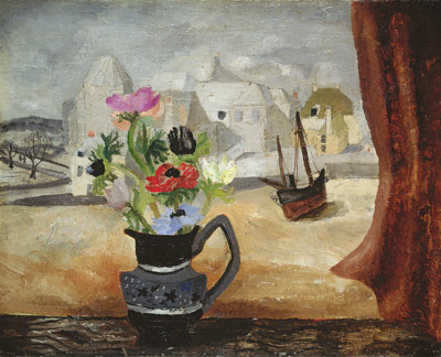 Anemones in a Cornish Window (oil on canvas) by Christopher Wood(1901-30) Leeds Museums and Galleries (City Art Gallery)