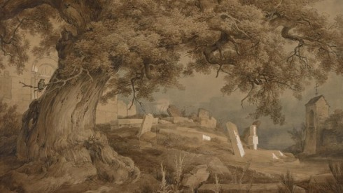 Landscape with Cemetery and Church, 1837, Karl Frederich Lessing