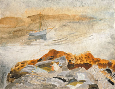 Seascape with two boats, KY by Winifred Nicholson