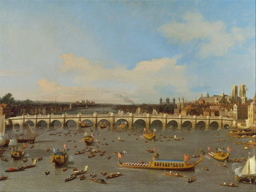 Westminster Bridge, with the Lord Mayor's Procession on the Thames, 1746