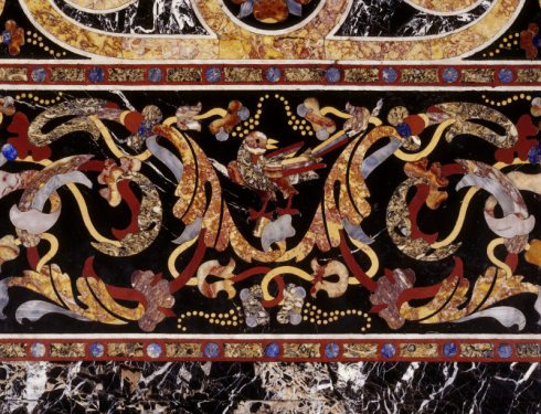 Section of a pietre dure table-top made in Rome in about 1580, at Powis Castle, probably acquired by George Herbert, 2nd Earl of Powis, in the 1770s or 1780s. Inv. no. 1181054. ©National Trust Images/John Hammond