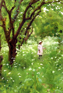 Thomas_Cooper_Gotch_-_The_Orchard_1887