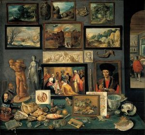 A corner of a cabinet, painted by Frans II Francken in 1636 reveals the range of connoisseurship a Baroque-era virtuoso might evince
