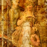 "Original & vintage art © First Night Design [www.firstnightdesign.wordpress.com] Vintage Henry Irving and Ellen Terry as Beatrice and Benedick in Much Ado About Nothing from The Library of Congress: http://www.loc.gov/pictures/item/97514042/ The background is a blend of the interior of The Great Exhibition at Crystal Palace in 1851 from an old encyclopaedia — the venue was originally built in Hyde Park and the exhibition was organised by Prince Albert and Henry Cole — and textures from ""2 Lil' Owls"":http://2lilowls.com. http://www.vam.ac.uk/page/g/great-exhibition/"