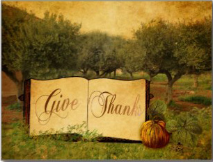 Buy Give Thanks Postcards from Zazzle © Sarah Vernon