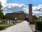 The Royal Shakespeare Theatre in 2011, north frontage and tower. [Wikipedia]