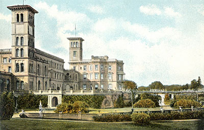 OSBORNE HOUSE.—This view of Osborne from the south lawn is the most picturesque, and gives the late Queen's apartments standing out in bold relief in the centre of the picture. The terraces below adorn the building, and the rosary which extends on the right to the lawn is gay with a blaze of colour in the month of June. Now that Osborne has been made into a Naval College, the grounds are open to visitors on Fridays in the winter, and on Tuesdays and Fridays in the summer season; it is visited by many thousands during the year.