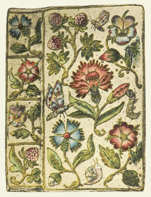 Embroidered book cover for Henshaw's Horae Successivae (1632), white satin with a floral design edged in gold cord, featured in Cyril Davenport's English Embroidered Book-bindings (1899) — Source.
