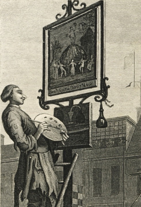 Sign painter in Beer St by William Hogarth, 1751