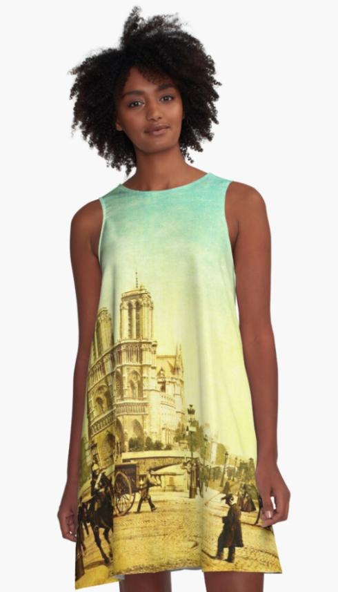 Vintage Notre Dame A-Line Dress