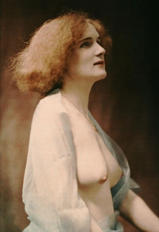 Female nude draped in a blue veil, autochrome by Robert Demachy