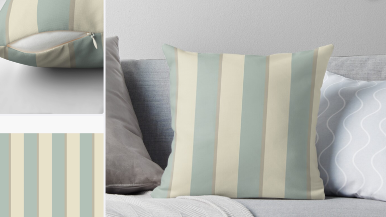 Georgian Stripe Eau de Nil Cushions at Redbubble