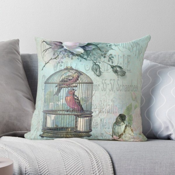 Birdcage Blossom Throw Pillow for sale at Redbubble