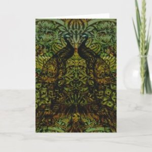 Indian Blue Peafowl Pattern Card at Zazzle © Sarah Vernon